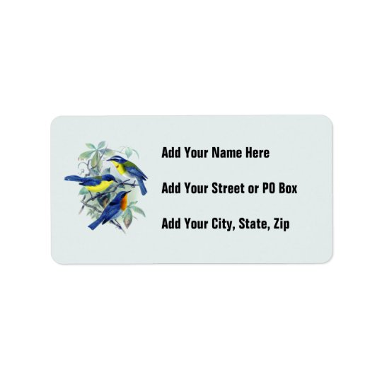 Vintage Floral Songbirds Apparel and Gifts Label