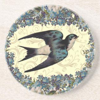 Vintage Floral Sparrow Coaster