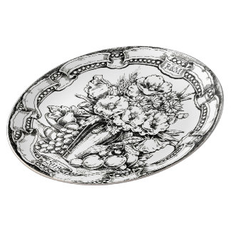Vintage Floral Still Life Pyrography Wedding Gift Porcelain Plates