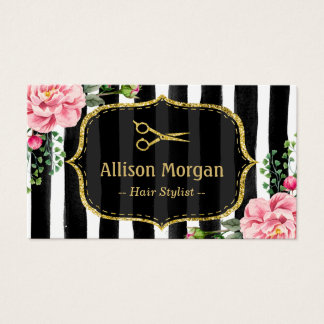 Vintage Floral Striped Hair Stylist Appointment Business Card