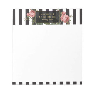 Vintage Floral Striped Personalized Notepad
