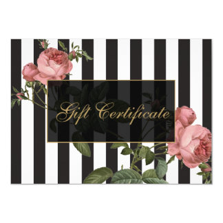Vintage Floral Striped Salon Gift Certificate 11 Cm X 16 Cm Invitation Card