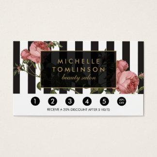 Vintage Floral Striped Salon Loyalty Card