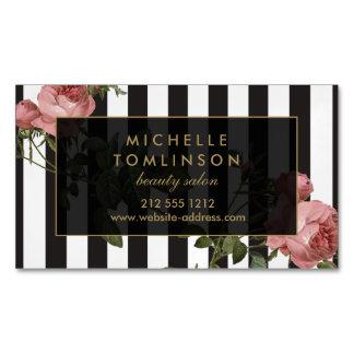 Vintage Floral Striped Salon Magnetic Magnetic Business Cards