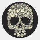 Vintage Floral Sugar Skull Classic Round Sticker
