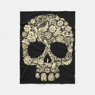 Vintage Floral Sugar Skull Fleece Blanket