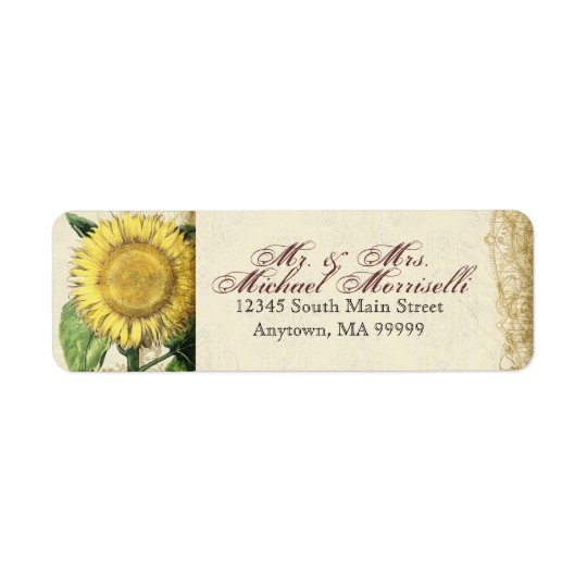 Vintage Floral Sunflowers - Autumn Fall Wedding Return Address Label