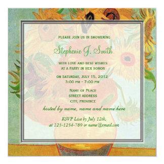Vintage floral sunflowers bridal shower invitation