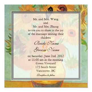 Vintage floral sunflowers wedding invitation
