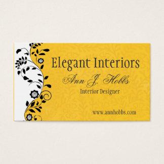 Vintage Floral Swirl Interior Designer Elegant Business Card