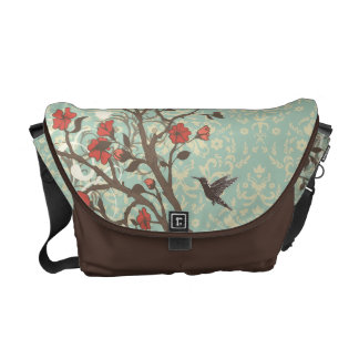 Vintage floral swirls bird Rickshaw messenger bag