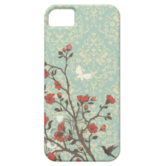 Vintage floral swirls damask + bird iphone 5 case