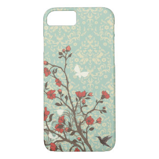 Vintage floral swirls damask + bird iPhone 7 case