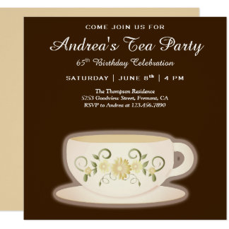 Vintage Floral Tea Cup   Brown Birthday Tea Party Card