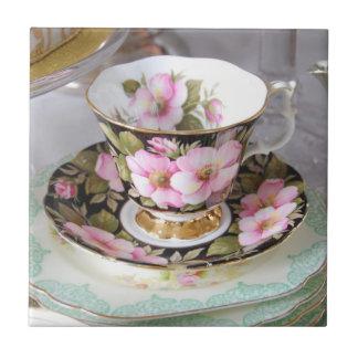 Vintage Floral Teacup Ceramic Tile