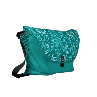 Vintage Floral Teal Peacock Messenger Bag