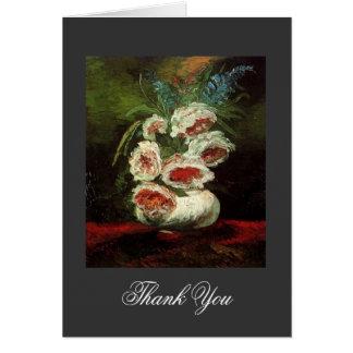 Vintage floral thank you, Van Gogh Peonies Greeting Card