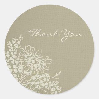 Vintage Floral Thank You Wedding Envelope Seals Round Sticker