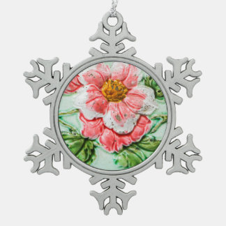 Vintage Floral Tile Pewter Snowflake Decoration