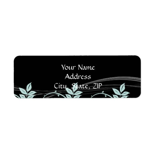 Vintage Floral Trim Black and Iced Blue Return Address Label