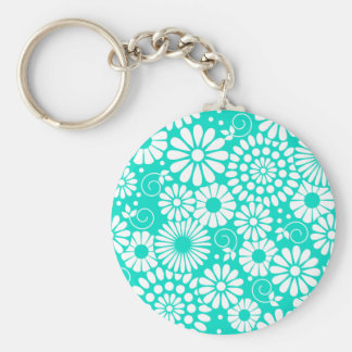 Vintage floral turquoise Keychain