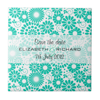 """Vintage floral turquoise """"Save the date"""" Tile"""