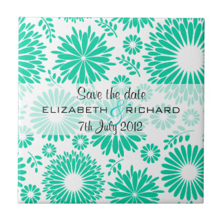 Vintage floral turquoise Save the date Tile