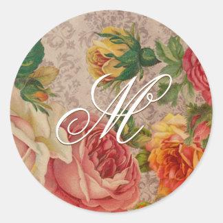 Vintage Floral Victorian Roses Monogram Sticker