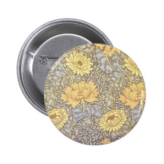 Vintage Floral Wallpaper Chrysanthemums Pinback Buttons