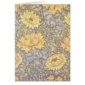 Vintage Floral Wallpaper Chrysanthemums Card