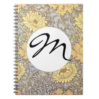 Vintage Floral Wallpaper Chrysanthemums Monogram Notebook