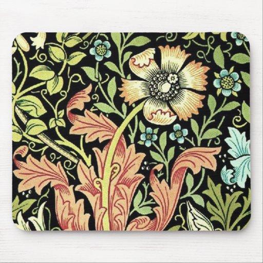Vintage Floral Wallpaper Mouse Pads