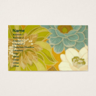 Vintage Floral Wallpaper, Turquoise Green & Brown Business Card