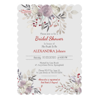 Vintage Floral Watercolor Botanical Bridal Shower Card