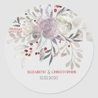 Vintage Floral Watercolor Botanical Wedding Round Sticker
