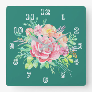 Vintage Floral Watercolor Bouquet Roses on Teal Square Wall Clock