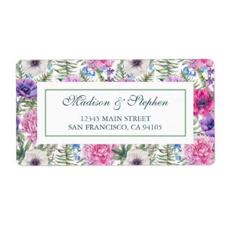Vintage Floral Watercolor | Peony -  Wedding Shipping Label