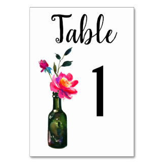 Vintage Floral Watercolor Table Number Card