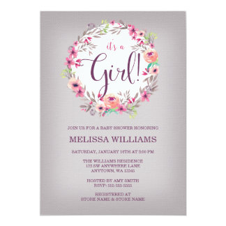 Vintage Floral Watercolor Wreath Girl Baby Shower 13 Cm X 18 Cm Invitation Card