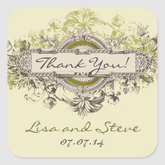 Vintage Floral Wedding Favor Thank You Sticker