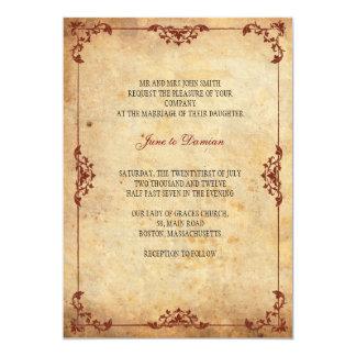 """Vintage Floral Wedding Invitation 5"""" X 7"""" Invitation Card"""