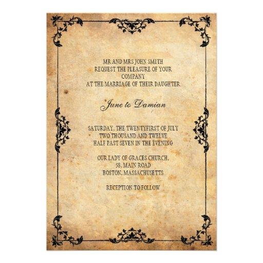 Vintage Floral Wedding Invitation