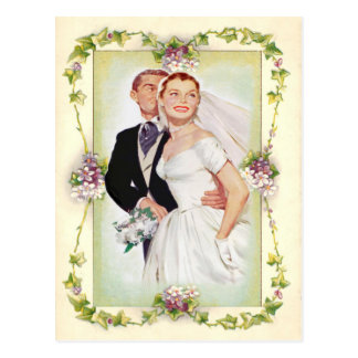 vintage floral, wedding invitation, postcard