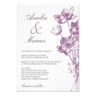 Vintage Floral Wedding Invitation / White