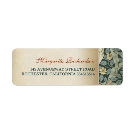 Vintage Floral Wedding Return Address Label