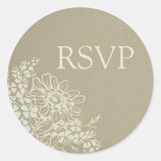 Vintage Floral Wedding RSVP Envelope Seals Round Sticker