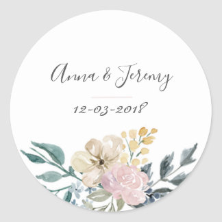 Vintage floral wedding sticker