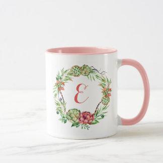 Vintage Floral Wedding Succulent   Monogram Mug