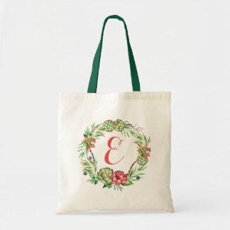 Vintage Floral Wedding Succulent | Monogram Tote Bag