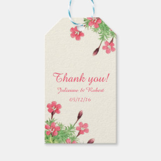"""Vintage floral wedding """"Thank You"""" favour gift tag"""